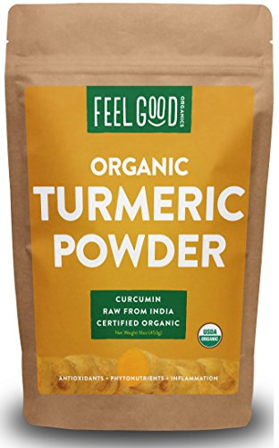 Organic Turmeric Powder - 16oz Resealable Bag (1lb) - 100% Raw w/ Curcumin From India - by Feel Good Organics