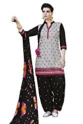 Kvsfab Grey & Black Pure Cotton Embroiderd Patiala un-stitched Dress Material