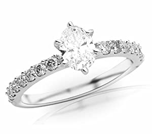 1.03 Carat Oval Cut / Shape 14K White Gold Classic Prong Set Diamond Engagement Ring ( F-G Color , SI1 Clarity )
