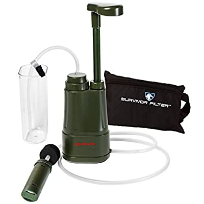 Survivor Filter PRO – Virus and Heavy Metal Tested 0.01 Micron Water Filter. 3 Filter Stages - 2 Cleanable 100,000L Membranes and a Carbon Filter. by SURVIVOR FILTER