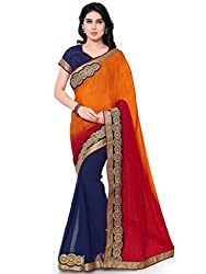Suchi Fashion Multi Chinnon and Georgette Embroidered Half Half Wedding Saree