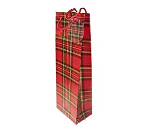 Bottle Bag Red Tartan Paper Pack of 4