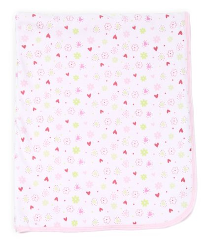 Spasilk Baby-girls 2 Ply Receiving Blanket Flower Print, Pink, One Size