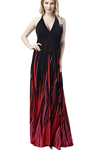 Yacun Women's Flame Design Halter Sexy Maxi Dress Evening Gown Plus Size Black_3
