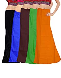 Javuli Women Cotton Half Slips (In-Com5-Black-Blue-Brown-Green-Mango _Multi-Coloured _Free Size)