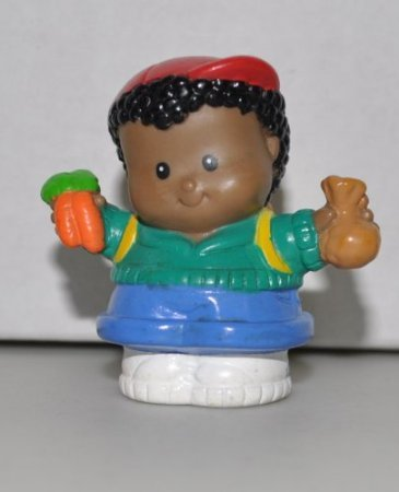Little People Michael holding Carrots (2001) - Replacement Figure - Classic Fisher Price Collectible Figures - Loose Out Of Package & Print (OOP) - Zoo Circus Ark Pet Castle - 1
