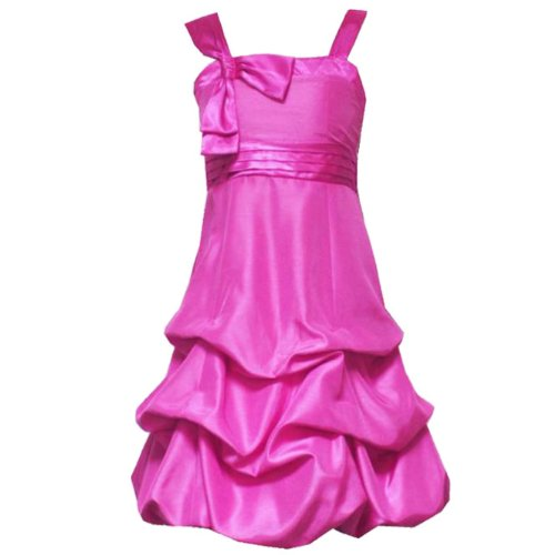 Size-8 RRE-58971F FUCHSIA-PINK BOW SHOULDER PUCKERED BUBBLE SHANTUNG Special Occasion Wedding Flower Girl Party Dress,F458971 Rare Editions TWEEN GIRLS