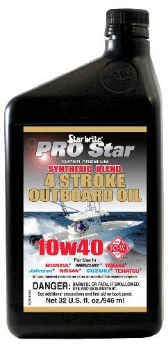 Star Brite 10W 40 Pro Super Premium Synthetic Blend 4 Stroke Outboard Oil (32-Ounce)
