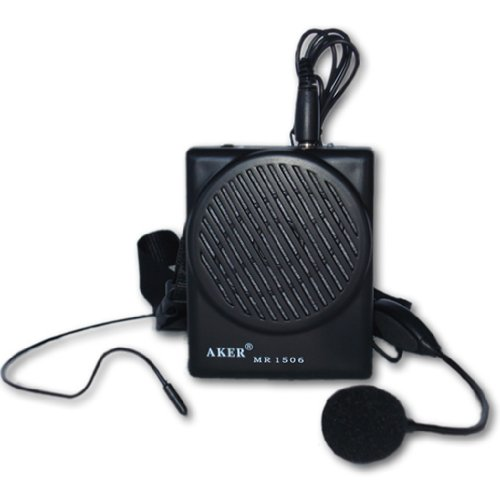 Aker Voice Amplifier 10watts Black MR1506, Portable, for Teachers, Coaches, Tour Guides, Presentations, Costumes, Etc.