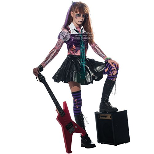 Rubies Zombie Punk Rocker Girls New Halloween Horror Party Fancy Dress Costume