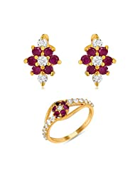 Combo Of One Finger Ring And A Pair Of Earring Made With CZ And Ruby For Women CO1104119G