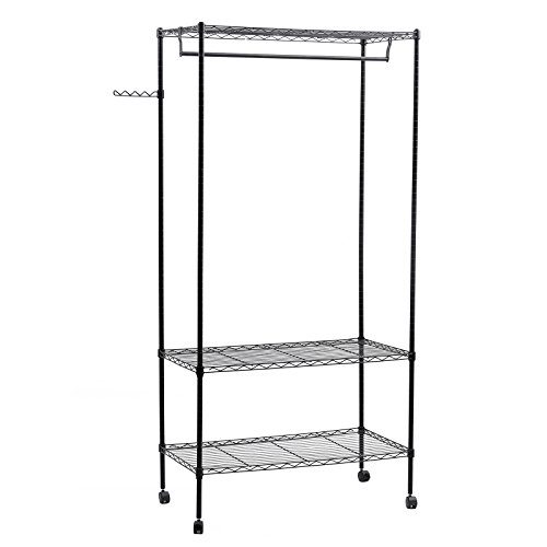 SONGMICS Heavy Duty Garment Rack with Top and Bottom Shelves Rolling Clothes Rack, Black ULGR45P (Wire Shelving And Garment Rack compare prices)