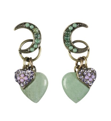 Gorgeous Dangle Earrings from 'Eternity' Collection Created by Amaro Jewelry Studio Decorated with Crescent Moon and Heart Charms, Enhanced with Swarovski Crystal Accents and Amethyst, Cape Amethyst Lavender, Rainbow Fluorite, Green Aventurine, Labradorit