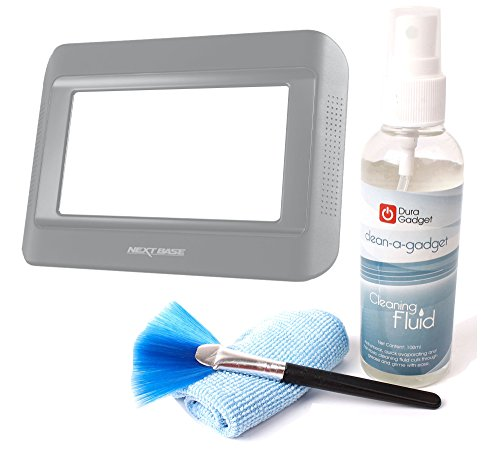 Duragadget High-Tech Gadget Cleaning Kit With Cleaning Fluid, Brush + Microfibre Cloth For Nextbase Click & Go Click 7 Lite Duo Twin Screen Portable Dvd Player