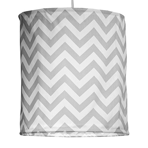 Sweet Potato Swizzle Hanging Drum Shade, Grey Chevron