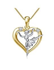 Vorra Fashion Dancing Princess In Heart Pendant With Chain For Women's Two Tone Sterling Silver White CZ Round...