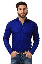 Mesh Full Sleeves Casual Cotton Shirt for Men's/Boy's (Blue) -38