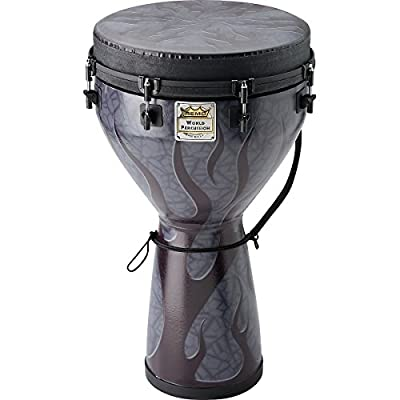 Remo 14 x 25 Inches Designer Series Key-Tuned Djembe, Shadow Flame Finish