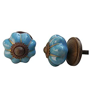Indianshelf set of 2 handmade ceramic blue melon small - Amazon kitchen cabinet pulls ...
