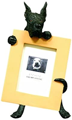 Black Great Dane Picture Frame Holds Your Favorite 2.5 by 3.5 Inch Photo, Hand Painted Realistic Looking Great Dane Stands 6 Inches Tall Holding Beautifully Crafted Frame, Unique and Special Great Dane Gifts for Great Dane Owners