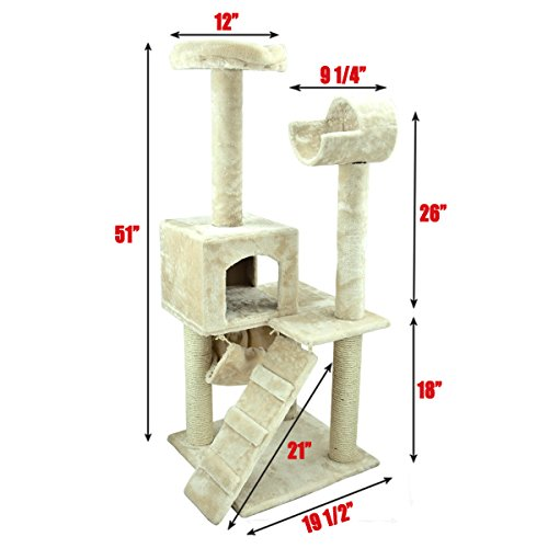 My1stPet Cat Tree 3 Level Condo with Scratching Post, 50″, White