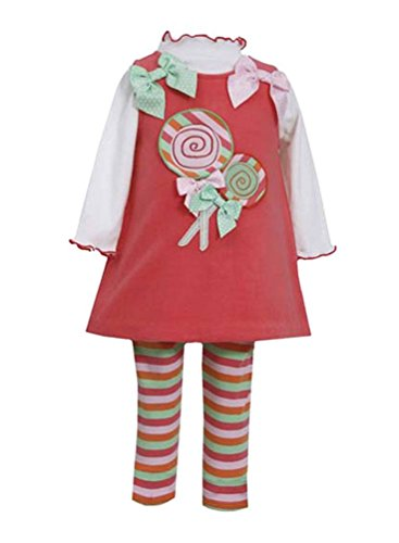 Bonnie Baby-Girls Infant Lollipop Fleece Legging Set, Coral, 12 Months front-870804