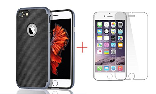 iPhone 7 Case, Weston Jewelers 2 in 1 Ultra Thin and Slim TPU Shockproof Protective Case with 1 Pack Premium Tempered Glass Screen Protector for Apple iPhone 7 (4.7'') (Navy Blue) (Weston Screen compare prices)