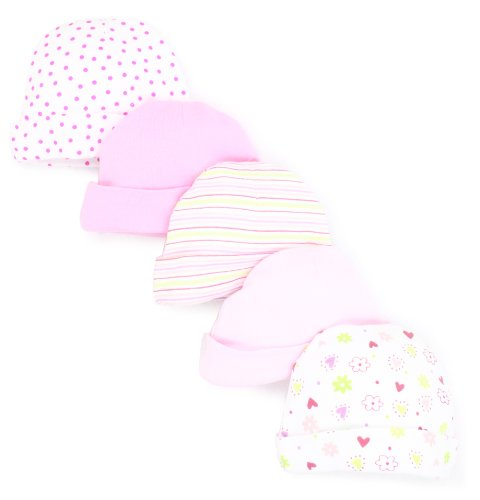 SpaSilk Baby-Girls Newborn 5 Pack Hat, Pink, 0-6 Months
