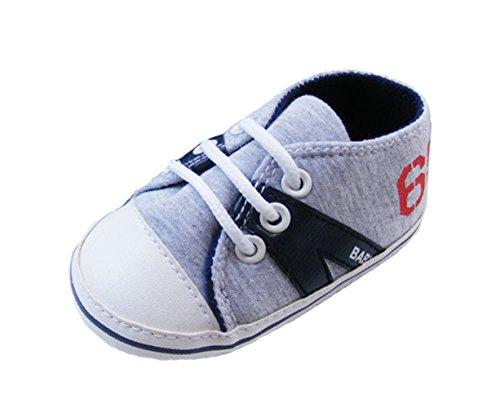ACVIP Bimbo e Bimba Laccio Anti-scivolo Sneaker Primi Passi da Ginnastica scarpino (lunghezza di scarpe 12cm, nero)