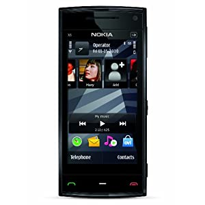 Nokia X6 Unlocked GSM Phone with 5 MP Camera, Capacitive Touch, GPS Navigation, Voice Navigation, Car Holder, 3G and 16 GB Memory (Black Cap)