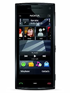Nokia X6 Unlocked GSM Phone with 5 MP Camera, Capacitive Touch, GPS with Voice Navigation, Car Holder, 3G and 16 GB Memory (Black Cap)