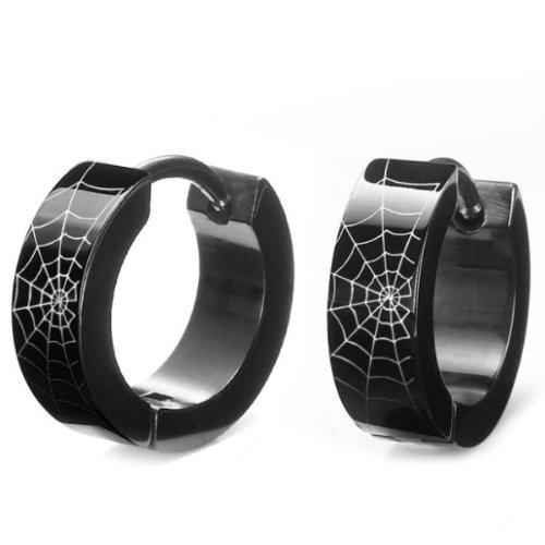 Unique Black Stainless Steel Spider Web Hoop Earrings for Men