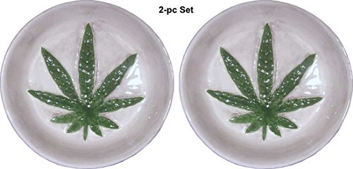 Marijuana Leaf Design With Raised Relief Dish-Ashtray, Hand Crafted Of High Gloss Glazed Porcelain-Ceramic, 2-Pc Set By Nose Desserts®