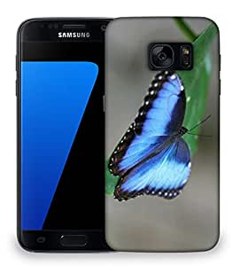 Snoogg Blue And Black Butterfly Designer Protective Phone Back Case Cover For Samsung Galaxy S7