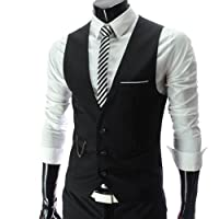 Zeagoo Men's Three Buttons Casual Business Leisure Waistcoat Vest Jacket