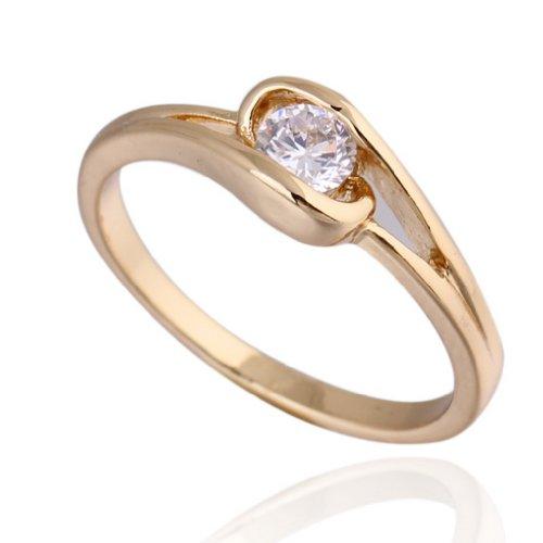 C-Princessリング 指輪 18Kゴールドメッキ コーティング 銅材料 ラインストーン レディース 女性 アクセサリー ジュエリー ウェディング エンゲージリング お洒落 高級感 (15, イエローゴールド)