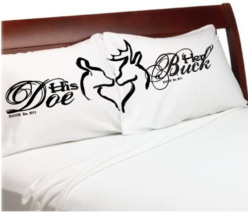 His And Her Wedding Gifts Ideas : Her Buck His Doe Couples Pillow Cases Personalized Romantic Gifts ...