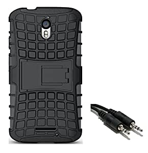Chevron Hybrid Military Grade Armor Kick Stand Back Cover Case for Moto X Play with Aux Cable (Black)
