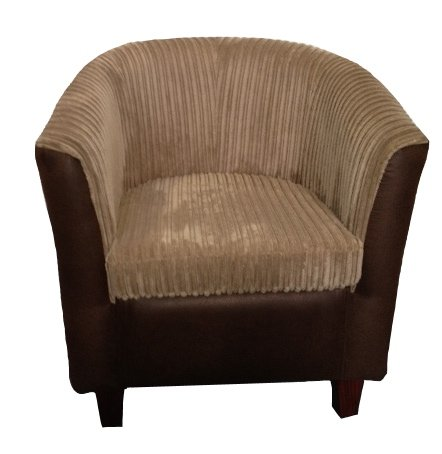 Designer tub chair in Brown leatherette and camel jumbo cord