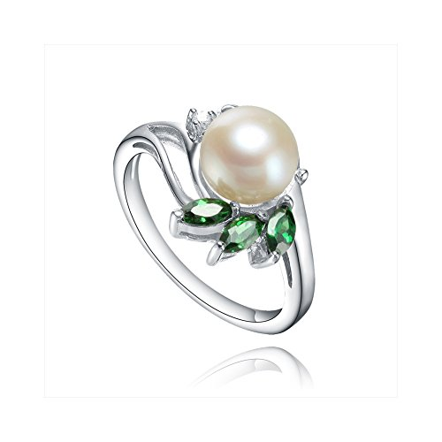 925 Sterling Silver Ring With High Quality Fresh Water Pearl, White & Green Cz