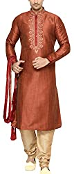 Indian Poshakh Mens Silk Sherwani (1193_42, 42, Red and Beige)