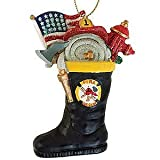 SPARKLY FIREMAN BOOT ORNAMENT (KURT ADLER)