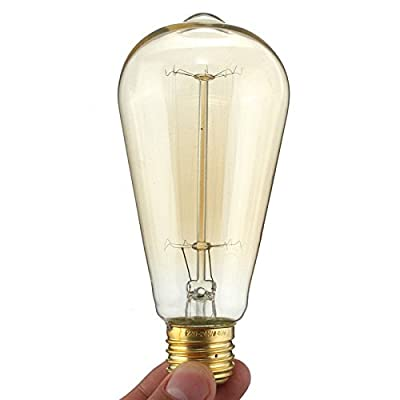 KINGSO E27 Base 60w Vintage Edison Bulb Dimmable ST64 Antique Filament Tungsten Squirrel Cage Style 19 Anchors Incandescent Bulbs for Home Light Fixtures Decorative Glass 220V