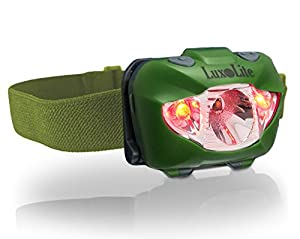 LuxoLite LED Headlamp - Super Bright CREE Head Flashlight with RED Lights - Handsfree, Light Weight, Waterproof, Batteries Included - THE BEST Headlamps OUT THERE for Camping, Hiking, Reading & More!