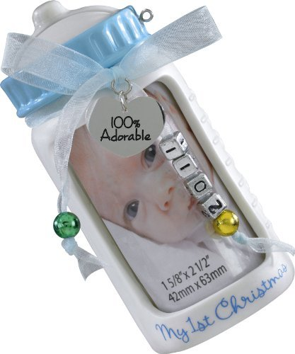 Carlton Heirloom 2011 Baby Boy's First Christmas - Photo Holder / Bank Ornament #CXOR002Z