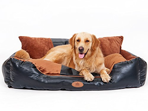 [New Release, Winter 2016] PLS Deluxe Lounger Faux Leather Bolster Pet