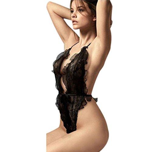 Susenstone Frauen-Wäsche-Transparent Black Erotic Spitze Bodysuit