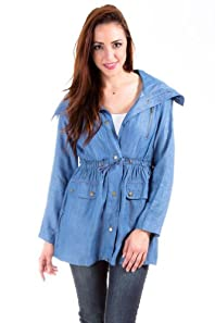 Free Bird Light Jacket with Waist Tie in Denim