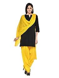 Stylenmart Women Cotton Solid Full Patiala Salwar Dupatta Set (Stmapa078636 _Yellow _Free Size)