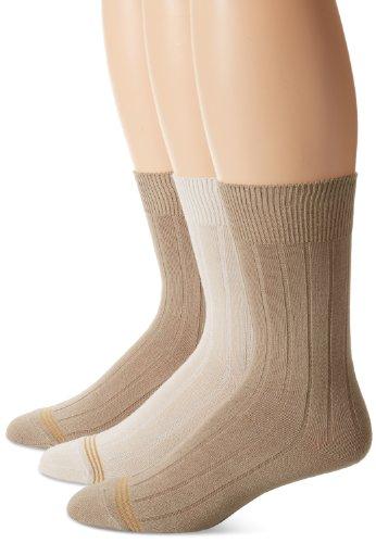 Gold Toe Big Boys' 3 Pack Wide Rib Dress Crew Sock, Khaki/Stone/Khaki, Large